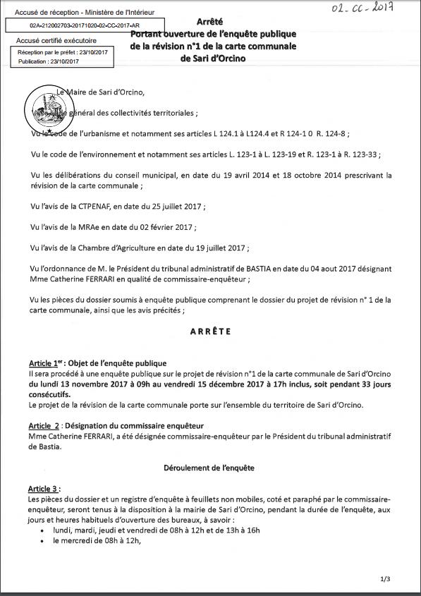 Arrêté d'ouverture de l'enquête publique N°02-CC-2017